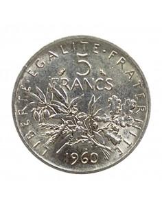 Pièce en argent 5 francs Semeuse, acheter des pièces argent et or en ligne sur or-investissement.fr
